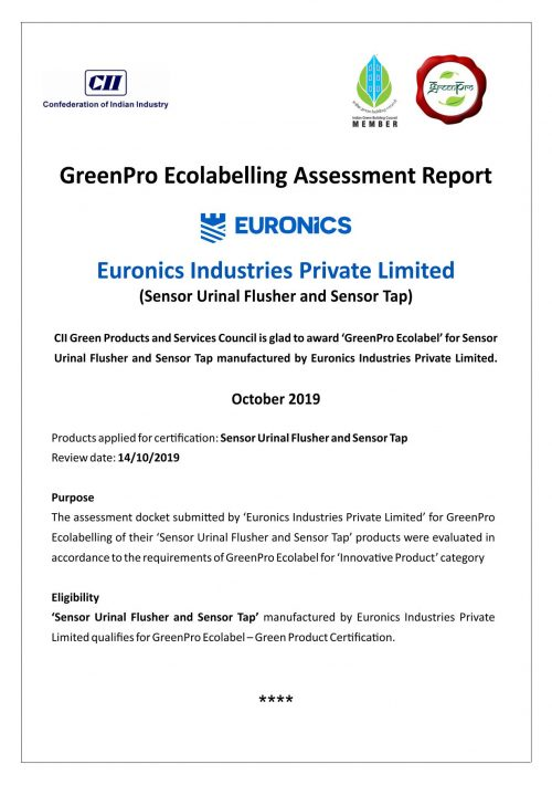 IGBC Certificate_GreenPro Ecolabelling Assessment Report - Euronics Industries Ltd 02112019